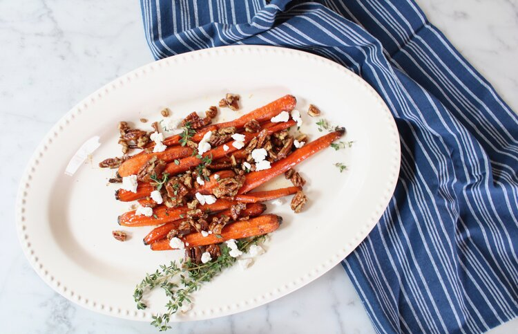 Roasted Carrots w Candied Pecans and Goat Cheese